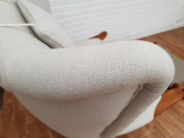 Danish High-Backed Armchair, Kvadrat Wool by Nana Ditzel, Completely Renovated 2