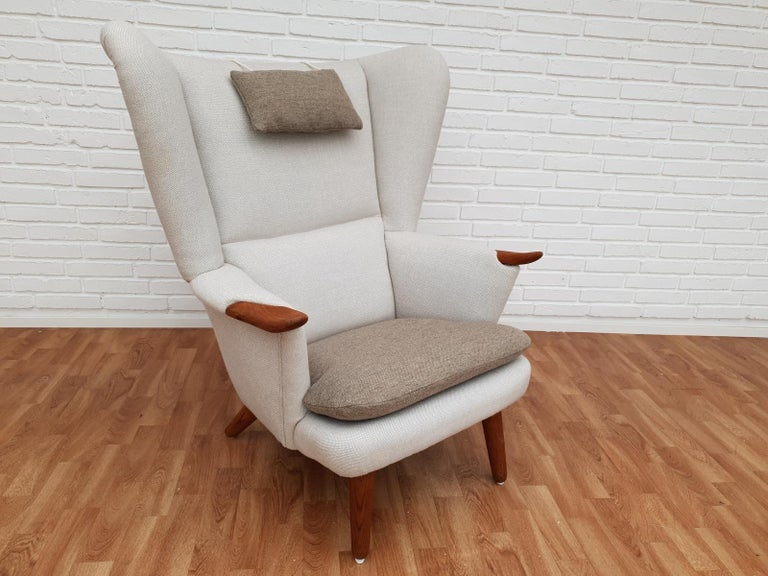 Danish High-Backed Armchair, Kvadrat Wool by Nana Ditzel, Completely Renovated 3