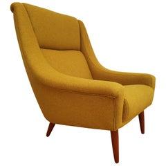 Danish High-Backed Armchair, Teak Wood, Wool, 1970s, Completely Restored