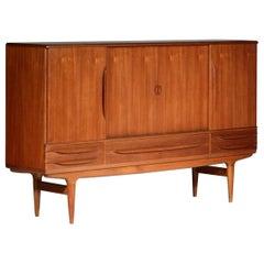 Danish High Sideboard by Johannes Andersen Scandinavian Design Teak Buffet