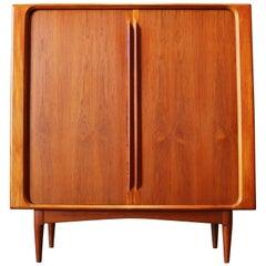Danish Highboard / Cabinet by Bernhard Pedersen & Son Teak Tambour Doors, 1950s