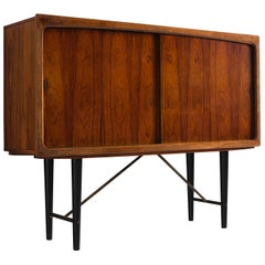 Danish Highboard with Rosewood and Brass, Denmark, 1950s