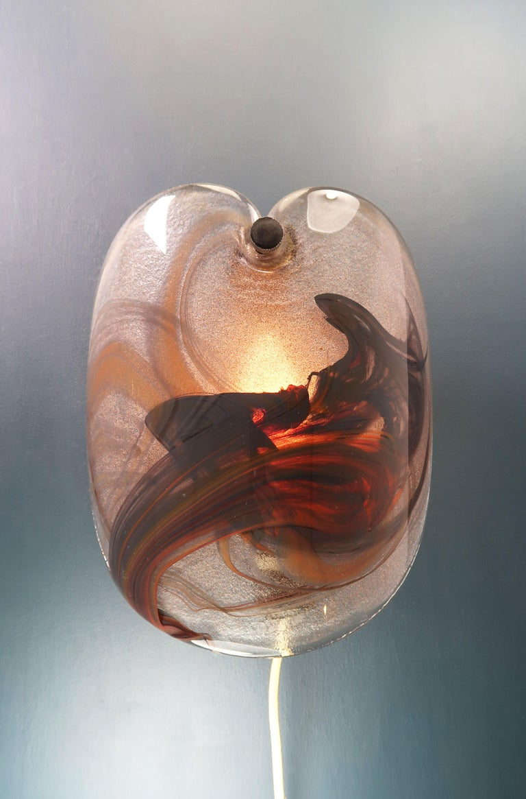 Danish Holmegaard Modern Red Art Glass Wall Sconces by Per Lütken, 1978 For Sale 1