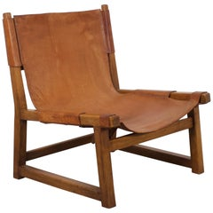 Hunting Chair in Solid Oak and Cognac Leather by Paco Muñoz, 1950s
