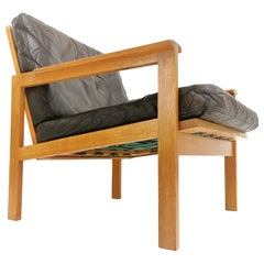 Danish Illum Wikkelso Oak and Leather Capella Easy Lounge Chair