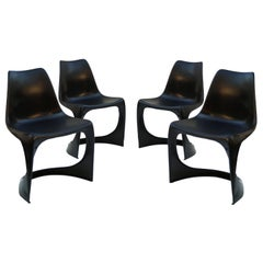 4 Danish Indoor Outdoor Stacking Dining Chairs by Steen Ostergaard Cado