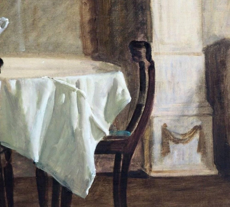 Danish Interior Painting, Signed in Monogram, 1923 In Excellent Condition For Sale In Aalsgaarde, DK