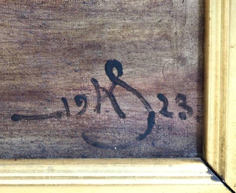 Early 20th Century Danish Interior Painting, Signed in Monogram, 1923 For Sale