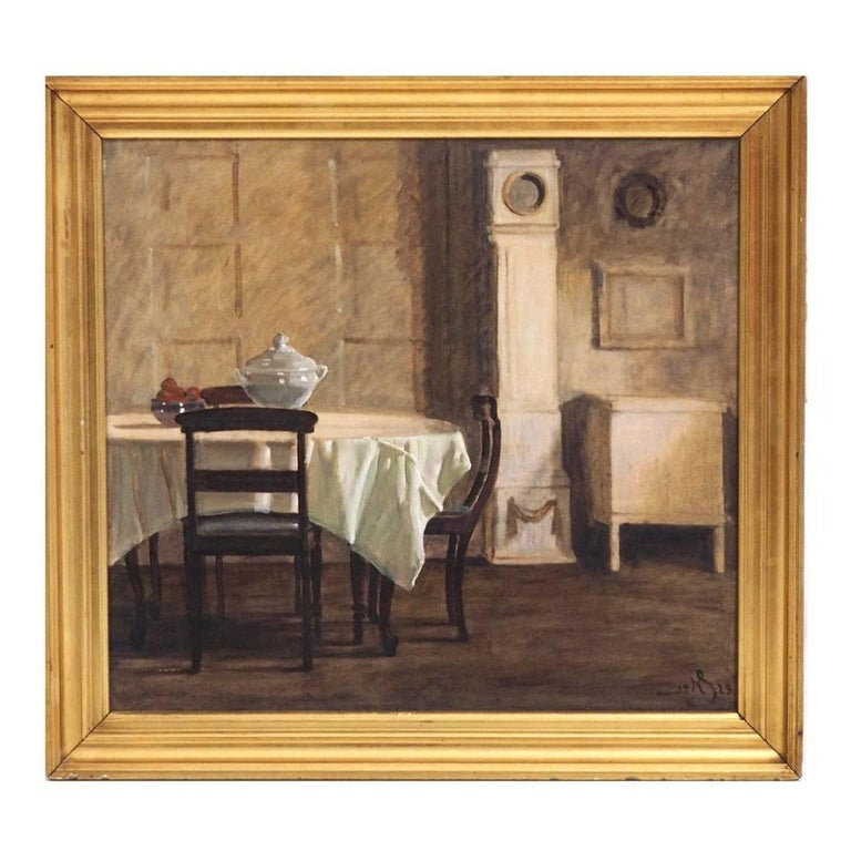 Danish Interior Painting, Signed in Monogram, 1923 For Sale