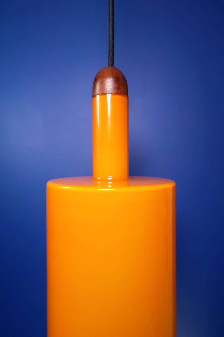 Mid-Century Modern Danish Jo Hammerborg Orange White Glass Teak Pisa Pendant for Fog & Mørup, 1963 For Sale