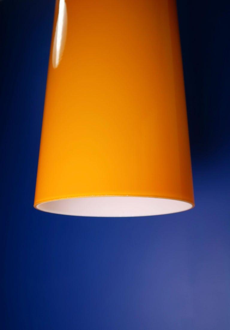 Mid-20th Century Danish Jo Hammerborg Orange White Glass Teak Pisa Pendant for Fog & Mørup, 1963 For Sale
