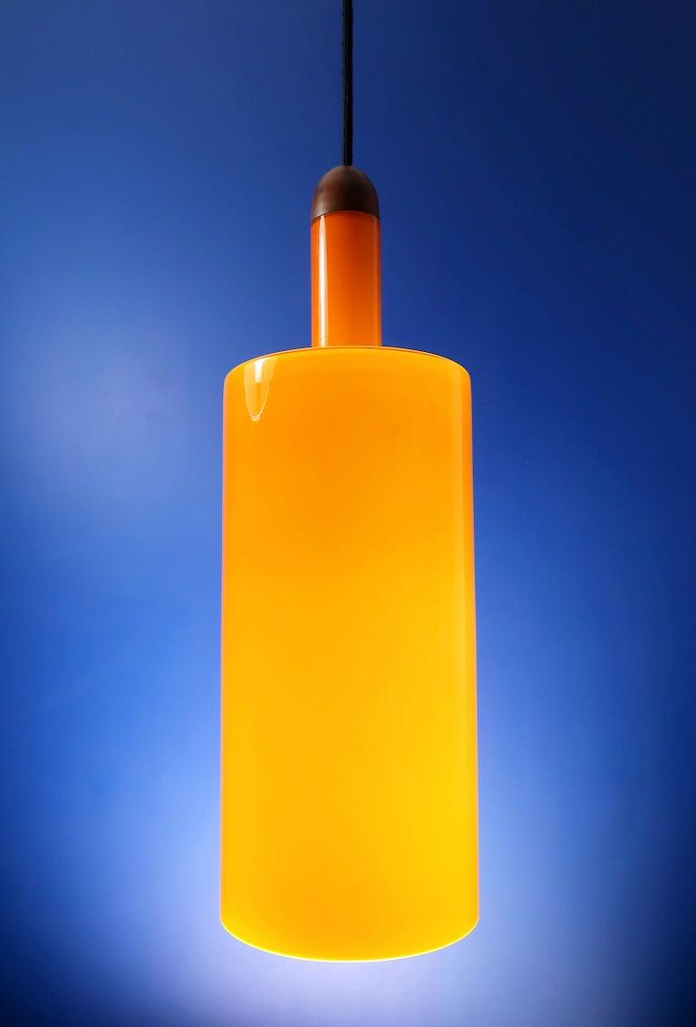 Danish Jo Hammerborg Orange White Glass Teak Pisa Pendant for Fog & Mørup, 1963 For Sale 2