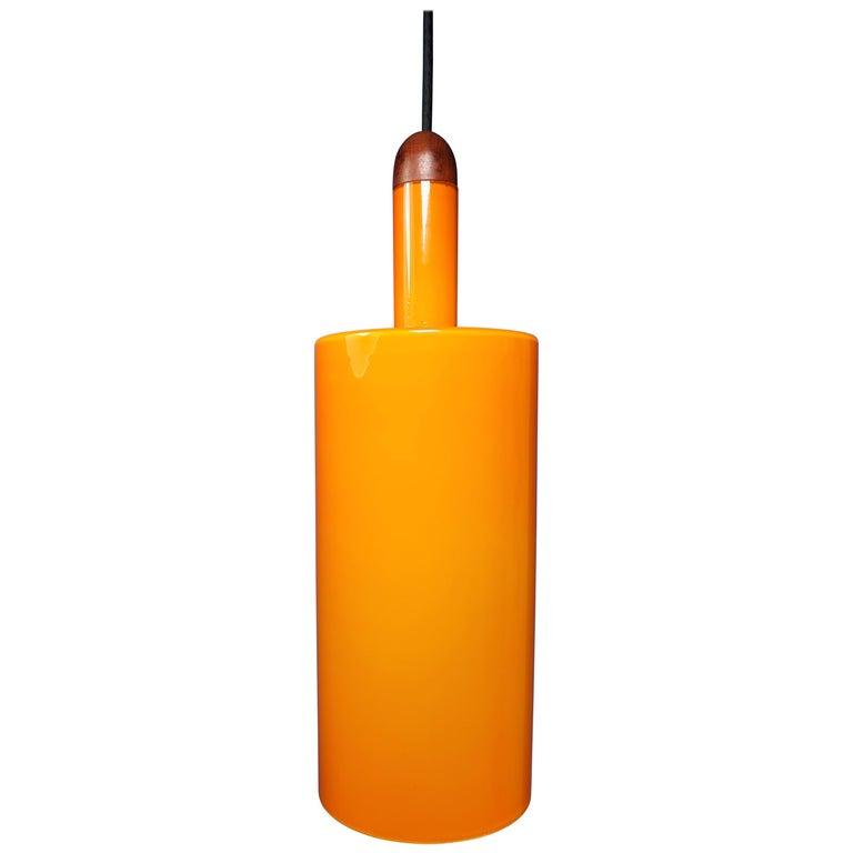 Danish Jo Hammerborg Orange White Glass Teak Pisa Pendant for Fog & Mørup, 1963 For Sale