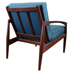 Danish Kai Kristiansen Paper-Knife Chair, Easy Chair Teak, with New Blue Fabric