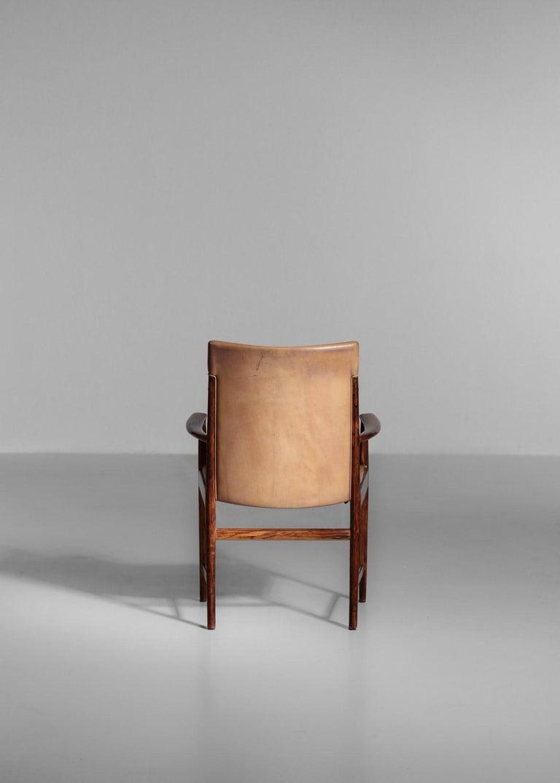 Danish Kai Lyngfeldt Larsen Armchair Scandinavian Leather Chair Soren Willadsen For Sale 5