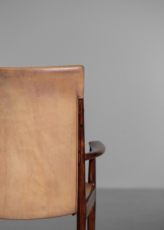 Danish Kai Lyngfeldt Larsen Armchair Scandinavian Leather Chair Soren Willadsen For Sale 6
