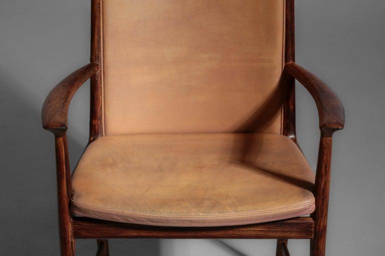 Danish Kai Lyngfeldt Larsen Armchair Scandinavian Leather Chair Soren Willadsen For Sale 10