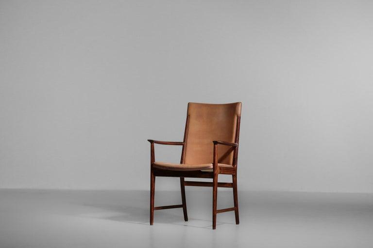 Danish Kai Lyngfeldt Larsen Armchair Scandinavian Leather Chair Soren Willadsen For Sale 11