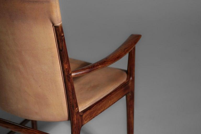 Danish Kai Lyngfeldt Larsen Armchair Scandinavian Leather Chair Soren Willadsen For Sale 12