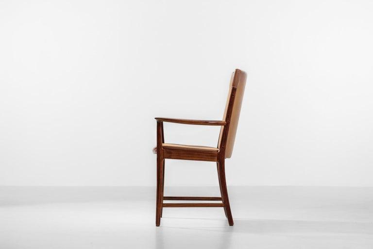 Mid-Century Modern Danish Kai Lyngfeldt Larsen Armchair Scandinavian Leather Chair Soren Willadsen For Sale