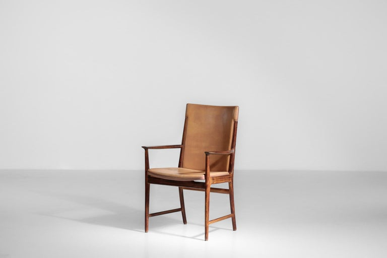 Danish Kai Lyngfeldt Larsen Armchair Scandinavian Leather Chair Soren Willadsen In Excellent Condition For Sale In Lyon, FR