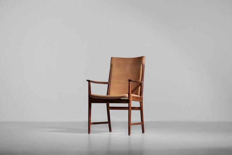 Danish Kai Lyngfeldt Larsen Armchair Scandinavian Leather Chair Soren Willadsen For Sale 1