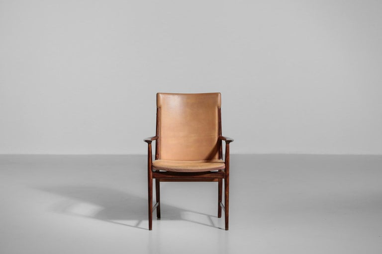 Danish Kai Lyngfeldt Larsen Armchair Scandinavian Leather Chair Soren Willadsen For Sale 2