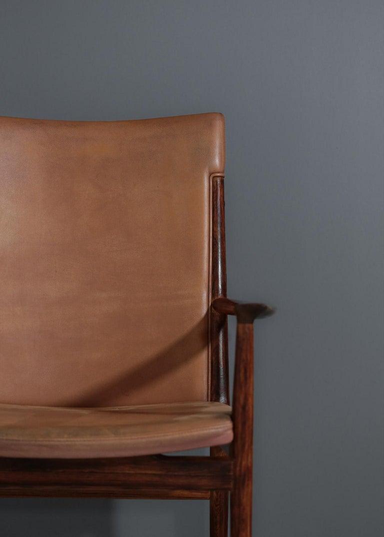 Danish Kai Lyngfeldt Larsen Armchair Scandinavian Leather Chair Soren Willadsen For Sale 3