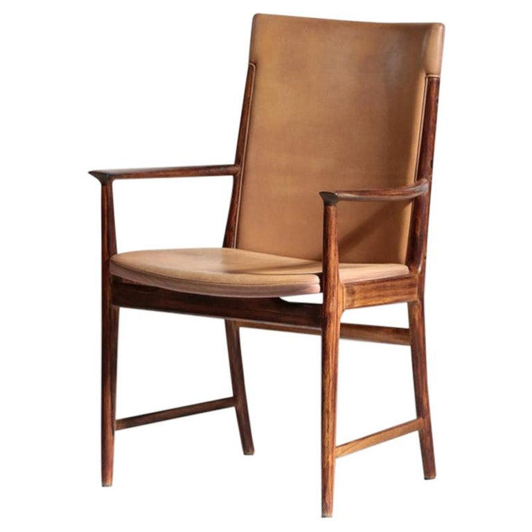 Danish Kai Lyngfeldt Larsen Armchair Scandinavian Leather Chair Soren Willadsen For Sale