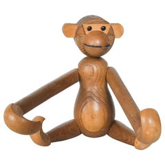 Danish Kay Bojesen Era Teak & Oak Jointed Wood Toy Big Monkey 1960s Modern Japan