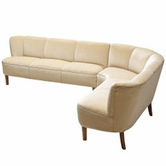 Danish L-Shaped Sofa in Off-White Upholstery
