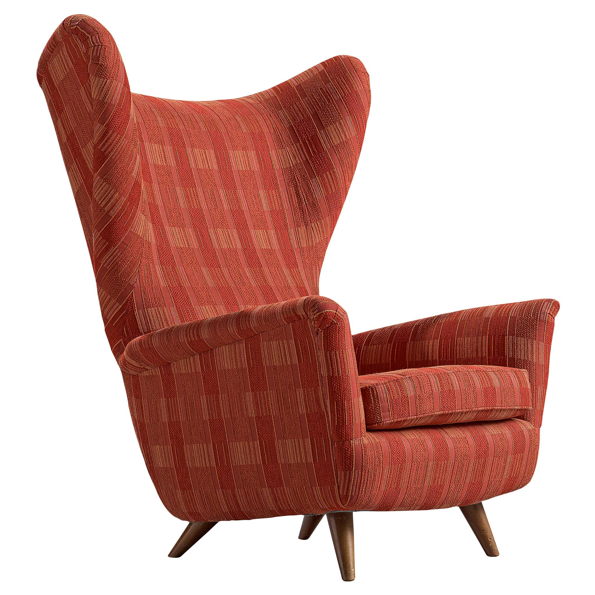Italian Large Wingback Chair in Red Upholstery