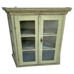 Danish Late 18th Century Folk Art Wall Cabinet Or Tabletop Vitrine With Glass
