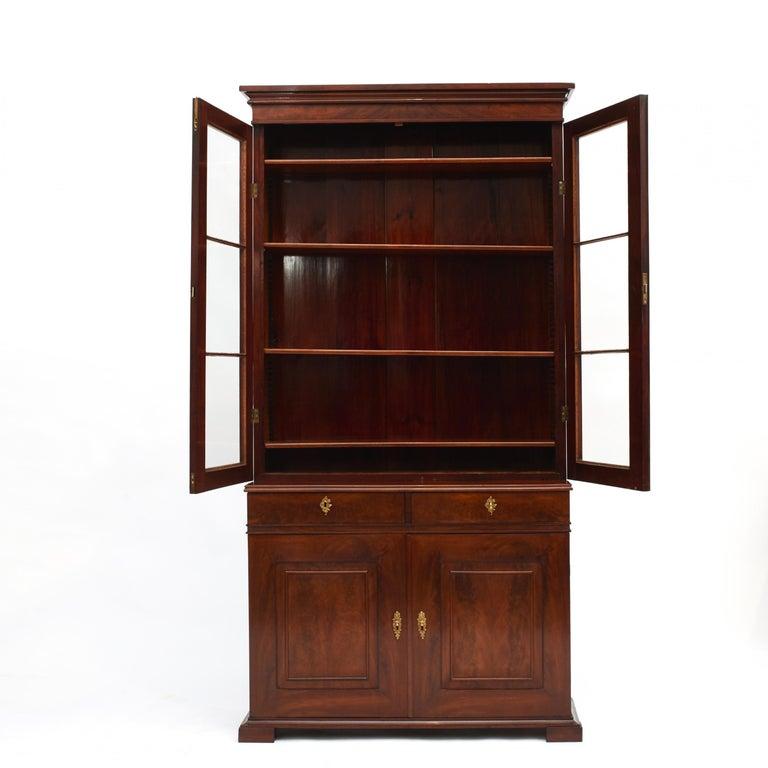 European Danish Late Empire Mahogany Bookcase Cabinet For Sale
