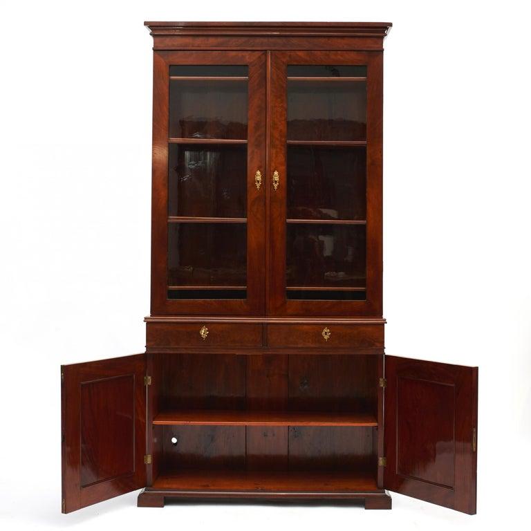 Veneer Danish Late Empire Mahogany Bookcase Cabinet For Sale