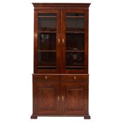 Danish Late Empire Mahogany Bookcase Cabinet