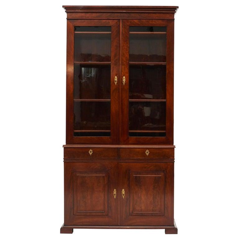 Danish Late Empire Mahogany Bookcase Cabinet For Sale