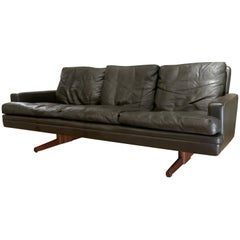 Danish Leather and Rosewood Sofa by Fredrik Kayser