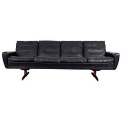 Danish Leather and Rosewood Wingback Sofa by Georg Thams