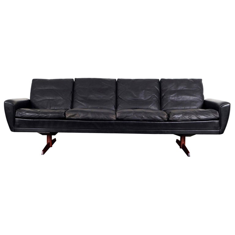 Danish Leather and Rosewood Wingback Sofa by Georg Thams For Sale