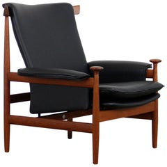Danish Leather and Teak Bwana Model 152 Chair by Finn Juhl for France & Søn 1962