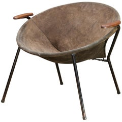 Danish Leather Balloon Chair Hans Olsen Mid-Century Suede Sling Hoop Teak, 1960s