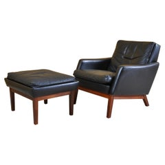 Danish Leather Chair and Ottoman