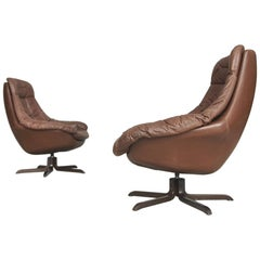 Dänischer Lederstuhl von H. W. Klein für Bramin, 1960er, Set aus Zwei