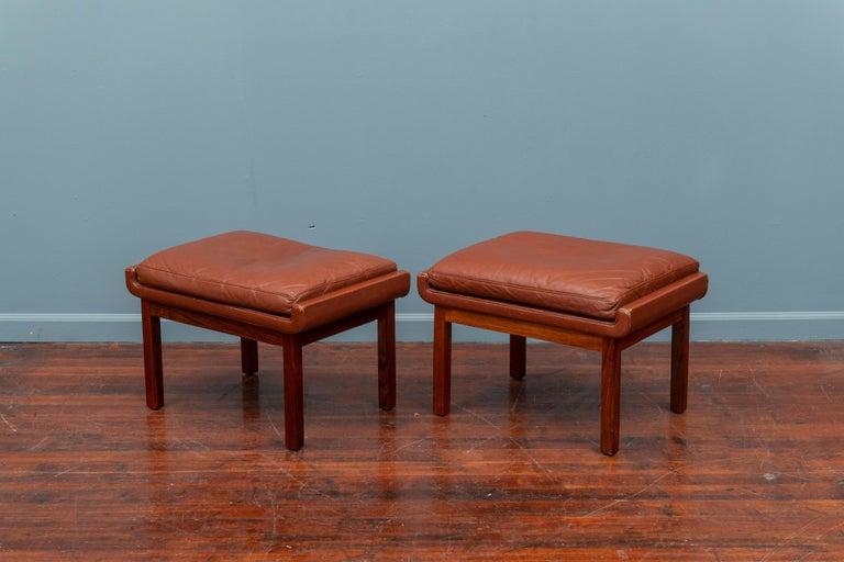 Scandinavian Modern Danish Leather Ottomans For Sale