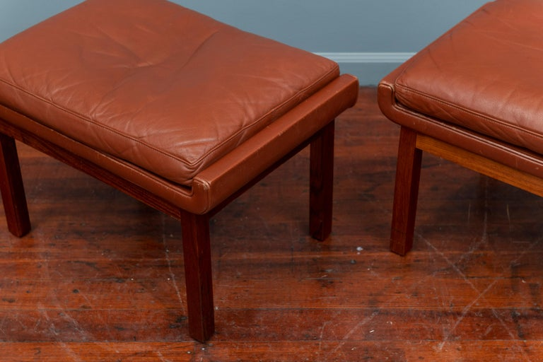 Danish Leather Ottomans In Good Condition For Sale In San Francisco, CA
