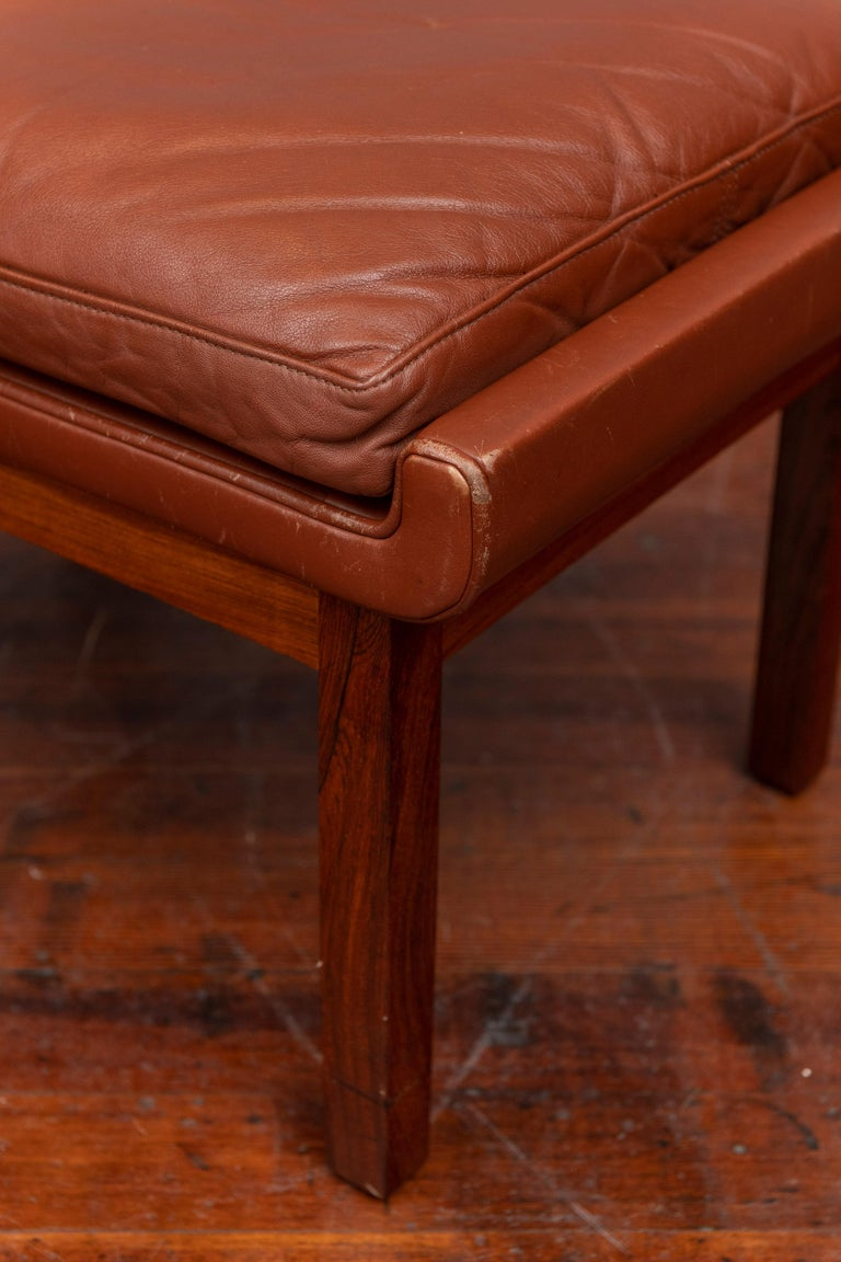 Late 20th Century Danish Leather Ottomans For Sale