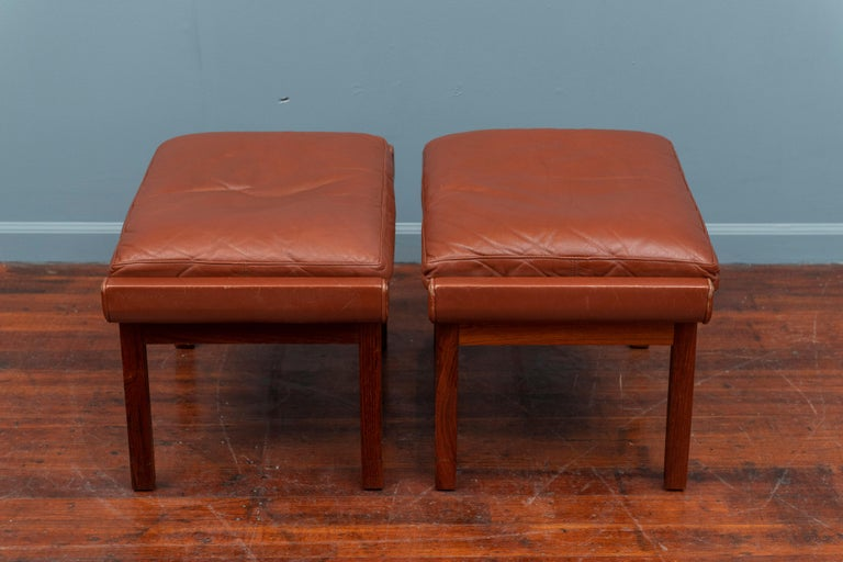 Rosewood Danish Leather Ottomans For Sale