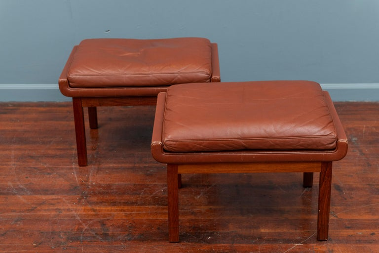 Danish Leather Ottomans For Sale 1