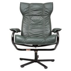 Danish Leather Recliner Swivel Lounge Chair by Kebe, Denmark, circa 1970